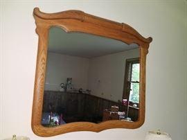 Steer horn oak mirror