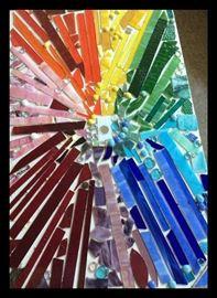 Rainbow glass coffee table