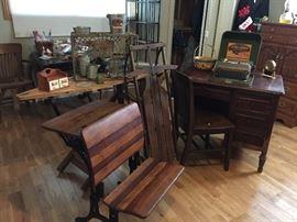Adjustable old school desk, vintage sled & ironing board, desk & chair
