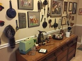 Lots of antique smalls, child's sewing machines, very long dresser/buffet.