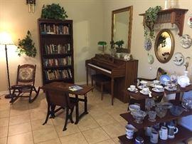 Spinet piano, bookshelf, 2 pc school desk, display shelf