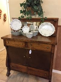 Oak buffet with mirror, Haviland china