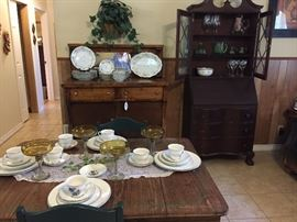 Oak buffet w/mirror, primitive table w/Wedgwood china, drop front china display