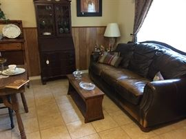 Leather couch, drop-front secretary, coffee table/bench - secretary SOLD