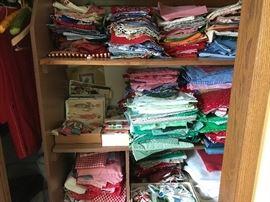 Fabric scraps in various sizes