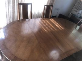 Beautiful MCM dining table with chairs and 2 leaves impeccable & just $475.00!