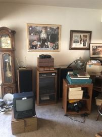 Technics stereo system $350.00 for everything! Also art, (clock shown was sold) lots of audio/video stuff $5.00 - $20.00!
