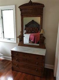 Antique Marble top dresser / mirror $ 495.00