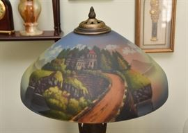 Antique Table Lamp with Reverse Painted Shade