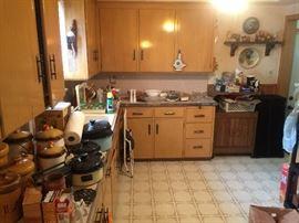 Lots of Vintage Canister sets, Porcelain Cookware, kitchen ware.