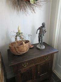 Wash Stand, Basket, Statue
