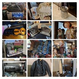 Vintage Tonka, Antique rare Fairy Lights, Hummels, Violin, Toasters, Matchbox, Grill, Vintage Leather Jacket, Milk Boxes