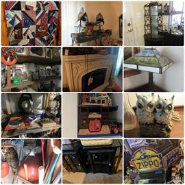 Crazy Quilt, Helmets, Knick Knack Shelf, Fireplace, Tools, Marble-Eyed Owl, Compressor, Modern Furniture, Halloween Decor