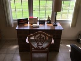 WOOD DESK WITH CHAIR AND MANY OFFICE ITEMS