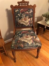 Unique wood and upholstered side chair