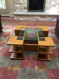 """Quadro"" Coffee Table by Dierkes Furniture in Sycamore Wood and Glass  36"" x 36"""