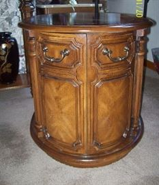 Oval End Table with Door
