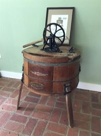 Antique Washing Machine & Framed Cross Stitch     https://ctbids.com/#!/description/share/32342