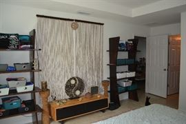 Thai Wood Shelves; Real Wood 2 Drawer Storage; 35 x 76 Beaded Curtain Set; beaded candle holders; Yin-Yang Lamp; Round Storage Box (Jewelry); Sony Boom box