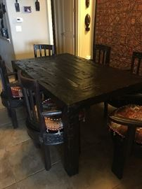 "Brown Wood in Color; Condition: Excellent; Table Size: 68"" x 40 1/4""; Chair Size: (Floor to seat) 18.5"" x 22"" / Full Height from seat back 37 1/4"""