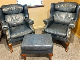 2 LEATHER CHAIRS WITH OTTOMAN (SLATE BLUE IN COLOR)
