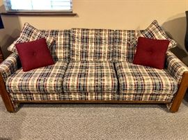 3 CUSHION SOFA WITH 4 DECORATIVE PILLOWS (NAVY BLUE / RED / BEIGE IN A PLAID PATTERN)