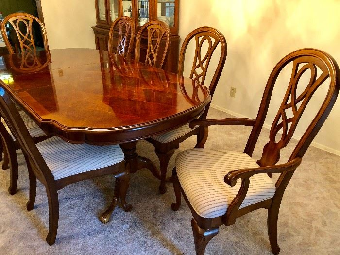 SET OF 8 WOOD & FABRIC DINING CHAIRS