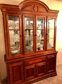 LIGHTED GLASS CHINA CABINET  /  CRYSTAL, CHINA, FLATWARE, VASES, SILVER COFFEE SERVICE