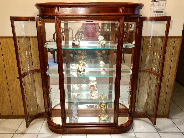LIGHTED GLASS CURIO CABINET WITH LOCKS