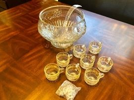 DEPRESSION GLASS 18 PIECE PUNCH BOWL WITH LADLE, CUPS & HOOKS.  CRYSTAL CLEAR JEANNETTE GLASS FRUIT DESIGN  (ALL PIECES IN ORIGINAL BOX)