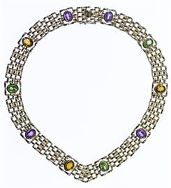 14k Gold and Semi Precious Gemstone Necklace