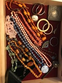 Sample of Chinese Jewelry including porcelains, coral and amber