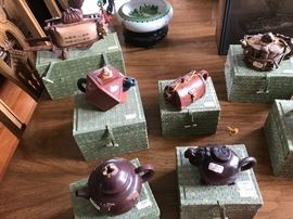 Terrific selection of tea pots in original custom fit fabric box