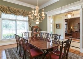Beautiful French Harp Style Dining Room with a Mahogany Finish.