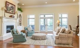 Living room showcases 3 cushion sofa made by Highland House Hickory, North Carolina.