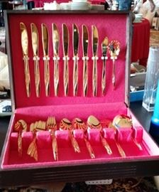 William Rogers Mid Century Modern  8 place setting  gold plated flatware