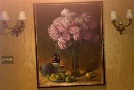 LARGE ORIGINAL OIL PAINTING BY RICH LOTTER, PAIR OF BRASS ELECTRIC SCONCES.