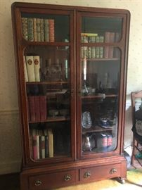ANTIQUE TWO DOOR BEVELED GLASS DISPLAY CABINET,  BOOKCASE , OR HUTCH WITH TWO DRAWER