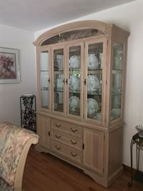 Keller China Cabinet with glass shelves, mirrors and lights + cutlery drawer