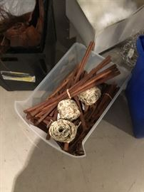 "Fall decor cinnamon sticks in various sizes and rolls of birch tree like paper ribbons 2.5"" wide"