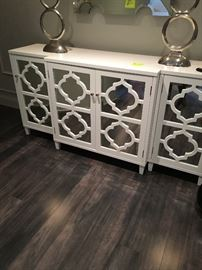 Credenza in hollywood regency design with mirror front, comes in three pieces (sides and center detach for easy movement)