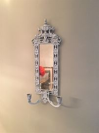 Set of two decorative mirror candle sconces