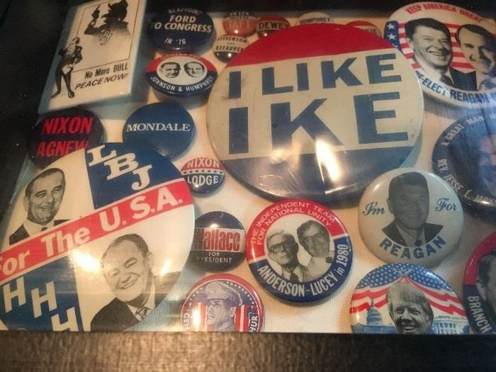 Political Buttons, WWII Metals and Memorabilia, Political Books