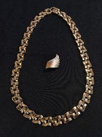 Gold Necklace, Diamond Studded 14K Pin