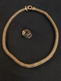 Gold Necklace, Sapphire and Diamond Ring