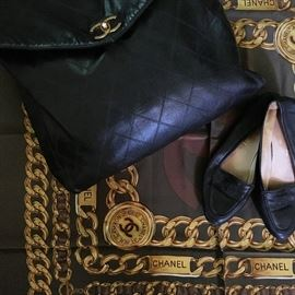 Welcome to the historic Sherborn home! Chanel silk scarf, Chanel flats, Chanel leather Shoulder bag!