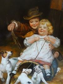 Signed Oil on Canvas - Children with Dogs