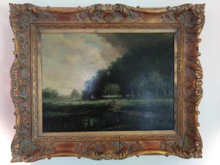 Vintage, artist signed oil on canvas, in aged wooden frame.