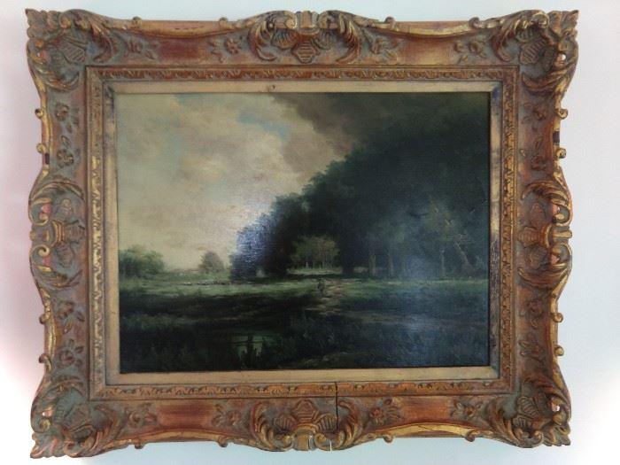 Vintage, artist signed oil on canvas, in aged wooden frame.