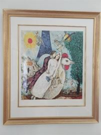 """Bridal Couple with Eiffel Spride"" nicely framed/matted Marc Chagall signed/numbered 735/750."